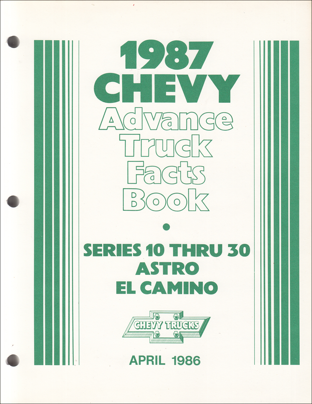 1987 Chevrolet Truck Advance Facts Book Original