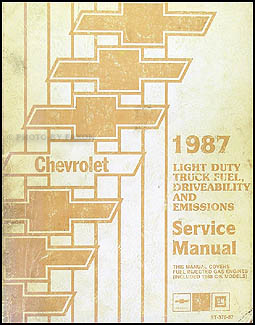 1987 Chevrolet Pickup Van Motorhome Fuel & Emissions Manual Original