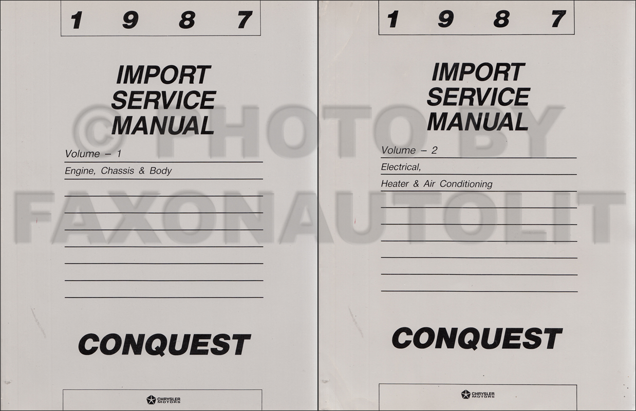 1987 Chrysler Conquest Shop Manual Original 2 Volume Set