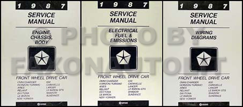 1987 MoPar FWD Car Repair Manual 3 Vol Set