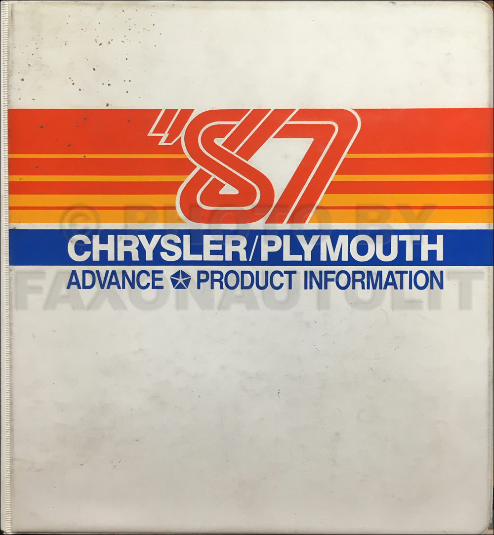 1987 Chrysler Plymouth Advance Color and Upholstery Album and Data Book Original