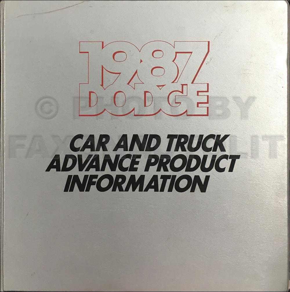 1987 Dodge Advance Color and Upholstery Album and Data Book Original