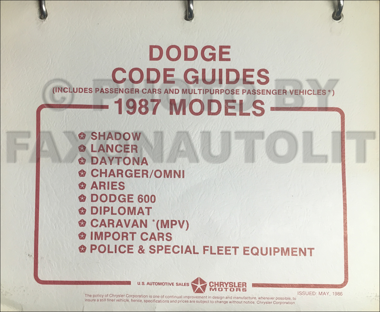 1987 Dodge Car Code Ordering Guide Original