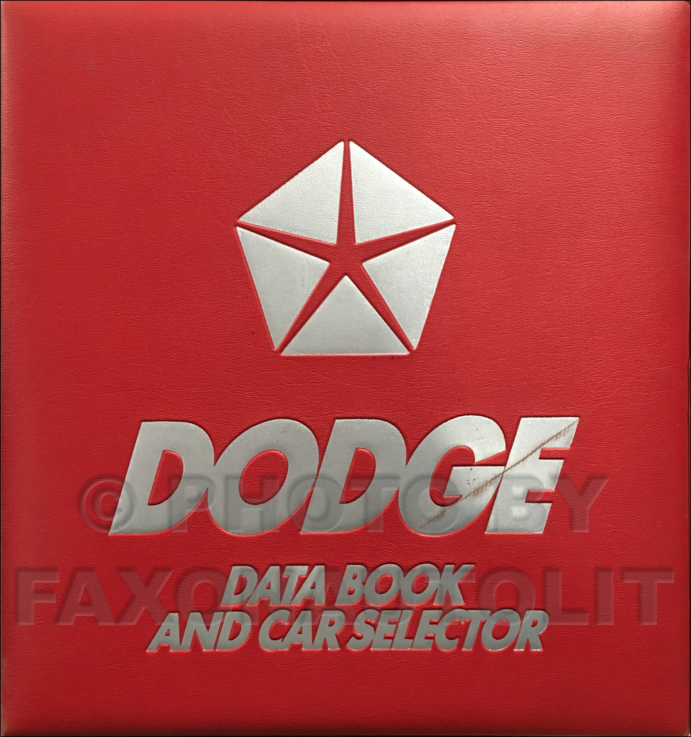 1987 Dodge Car Data Book Original