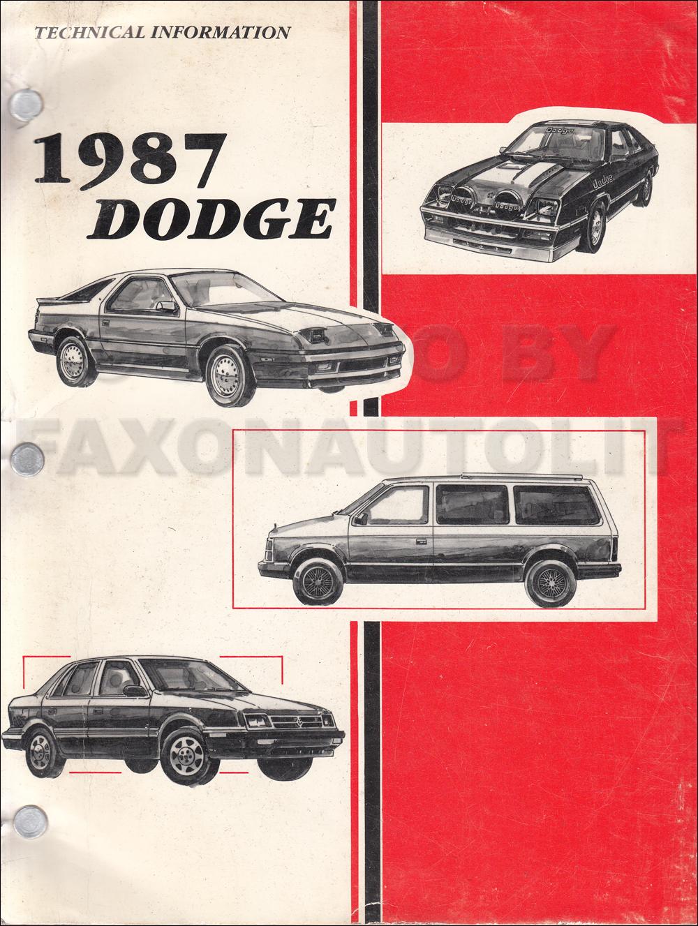 1987 Dodge Car Technical Press Information Original