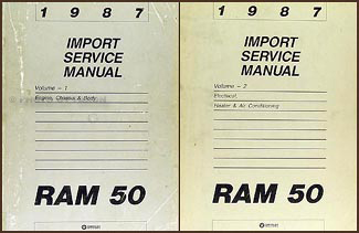 1987 Dodge Ram 50 Truck Shop Manual Original 2 Volume Set