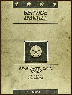 1987 Dodge Pickup Truck & Ramcharger Repair Manual Original