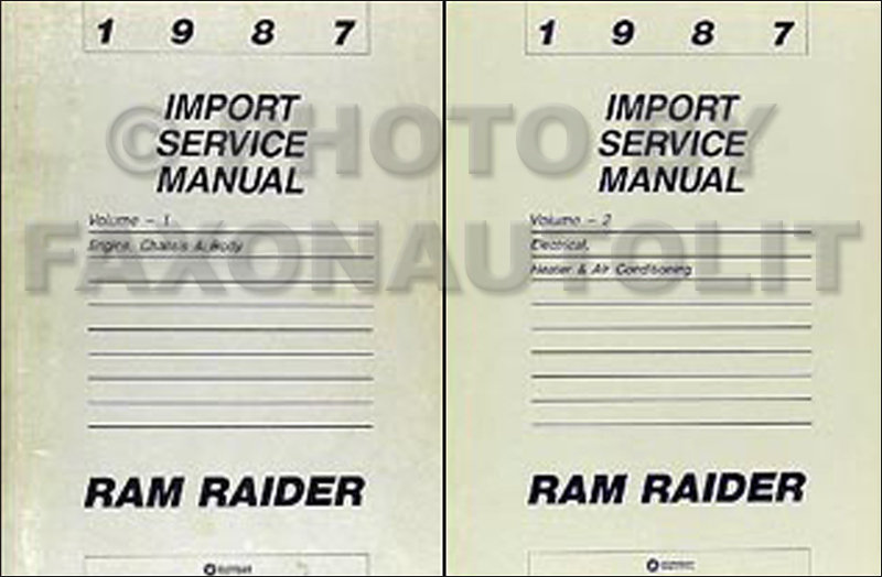 1987 Dodge Ram Raider Shop Manual Original 2 Volume Set