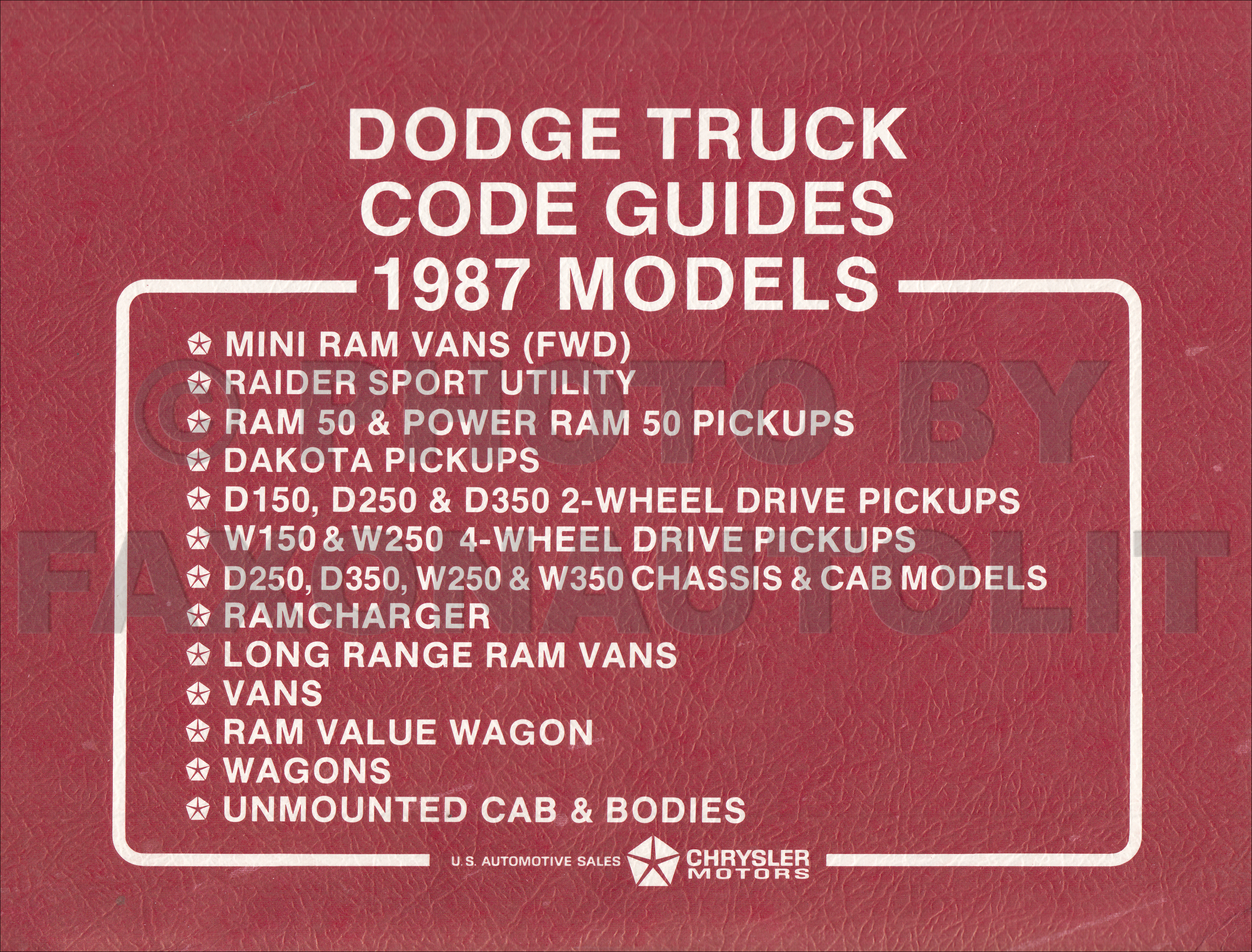1987 Dodge Truck Ordering Guide Original