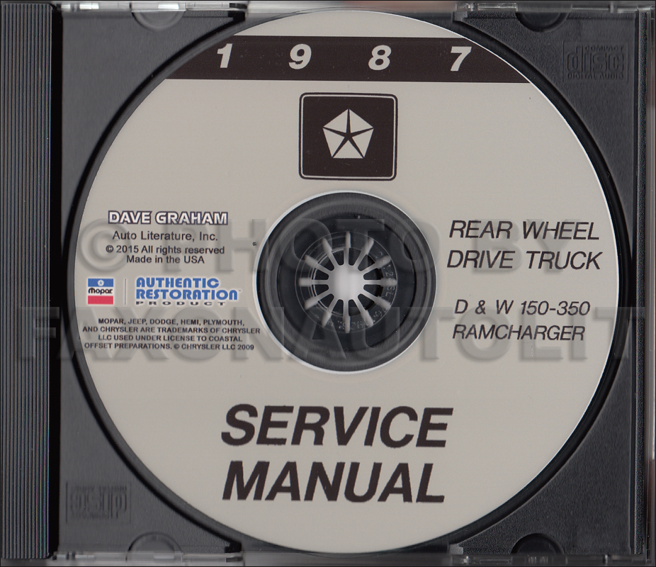 1987 Dodge Ramcharger and Pickup D&W 150-350 Repair Shop Manual CD