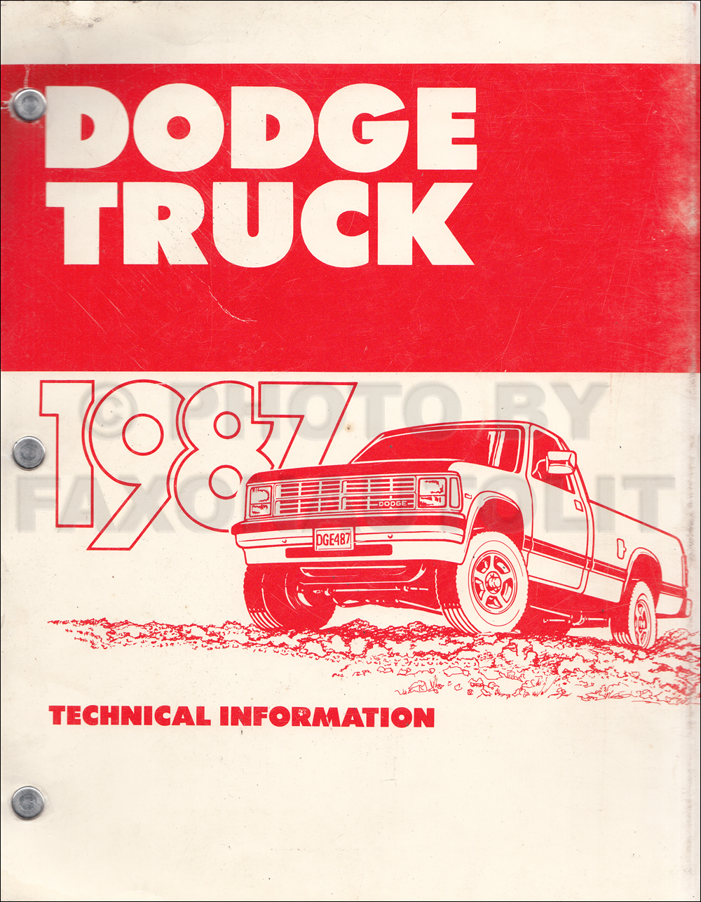 1987 Dodge Truck Technical Press Information Original