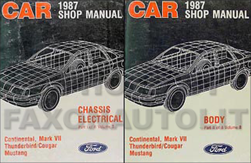 1987 FoMoCo Shop Manual Original Vols B & D Mustang/Thunderbird Cougar/Marquis Continental/Mark VII