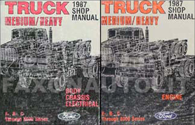 1987 ford f b c 600-8000 medium and heavy truck repair shop manual set