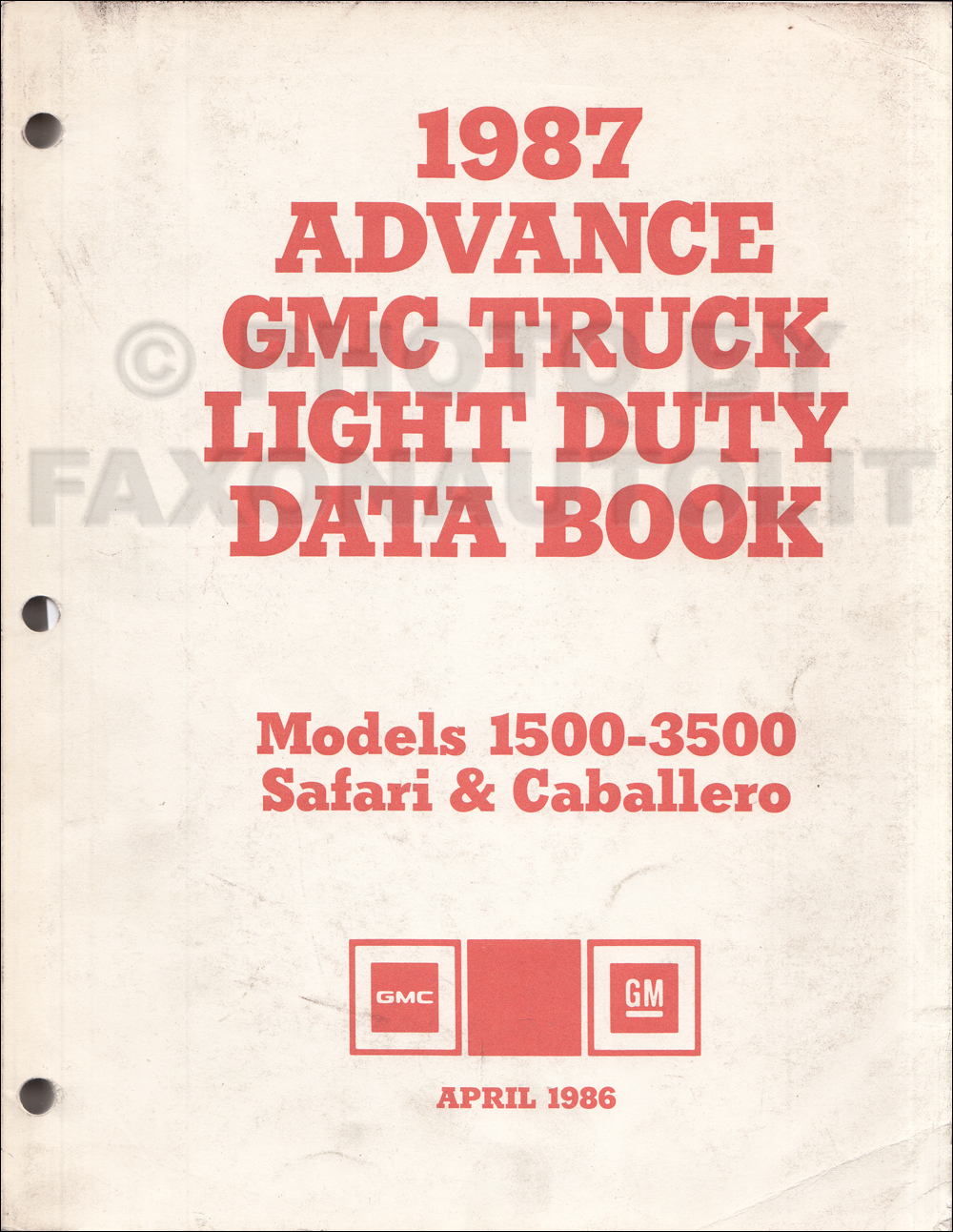 1987 GMC Advance Light Duty Data Book Original