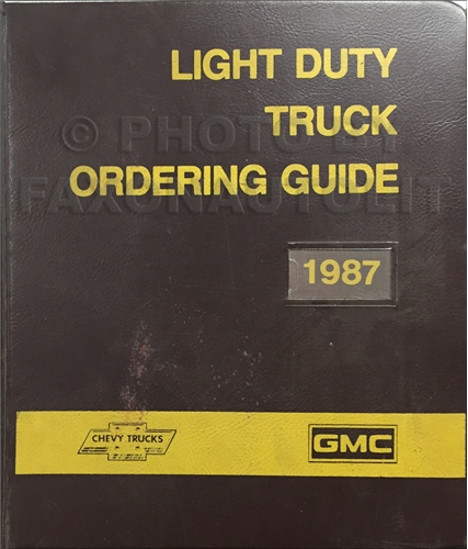 1987 GMC Chevy Light Duty Color & Upholstery Dealer Album/Data Book Original Canadian