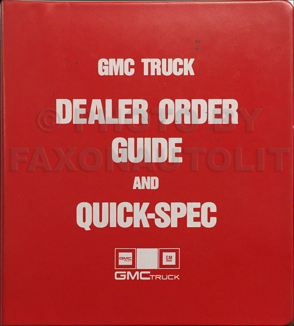 1987 GMC Light Duty Ordering Guide Original