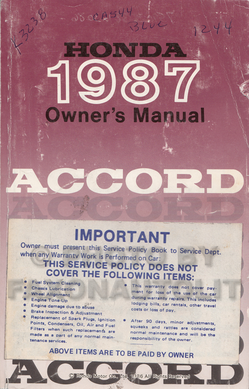 1987 Honda Accord Hatchback Owner's Manual Original