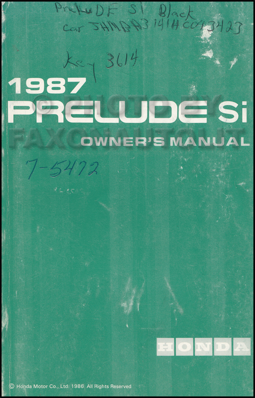 1987 Honda Prelude Si Owner's Manual Si Original
