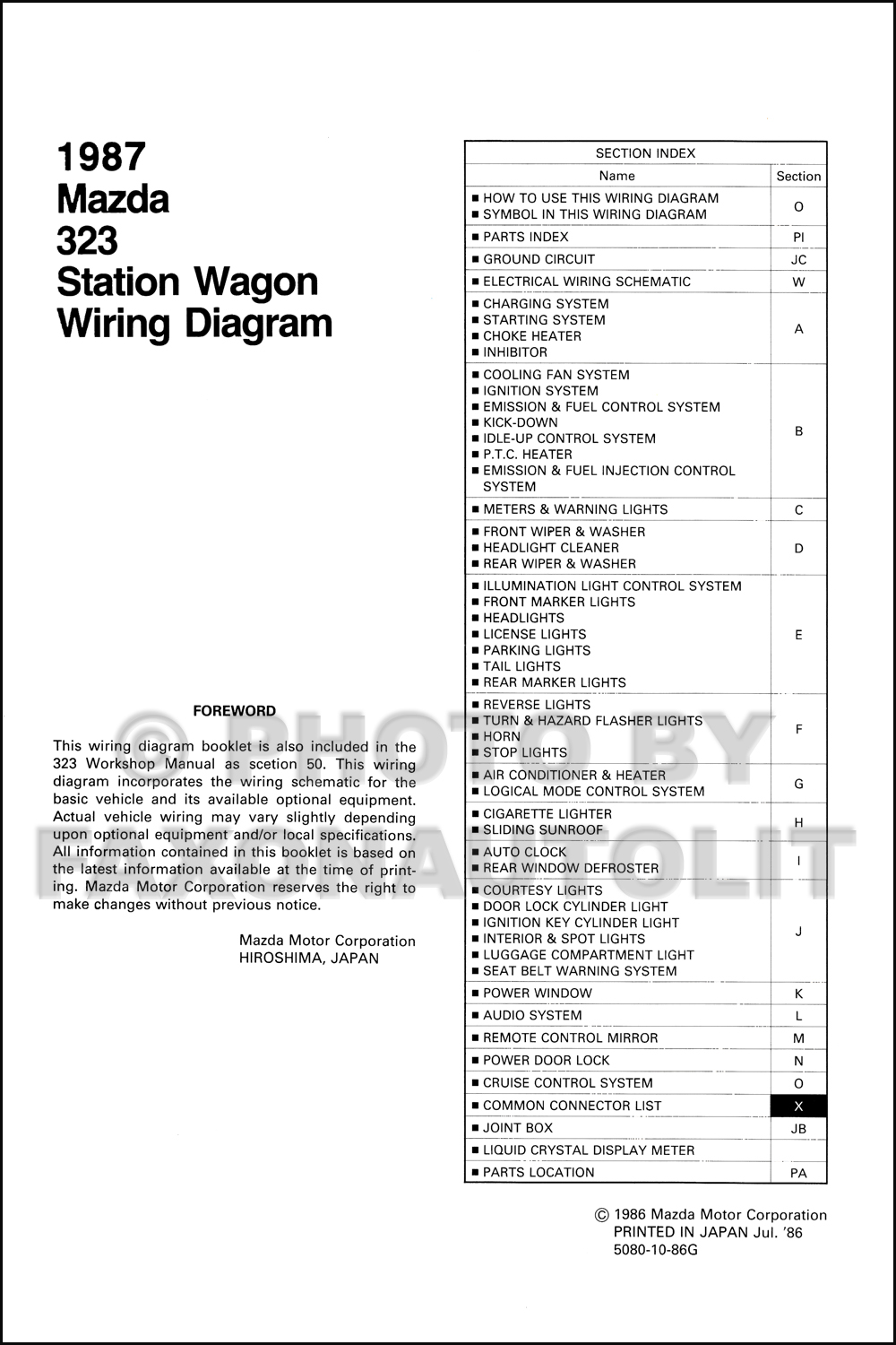 1987 Mazda 323 Station Wagon Wiring Diagram Manual Original