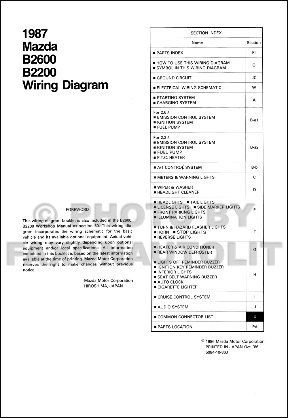 1987 Mazda B2200 B2600 Pickup Truck Wiring Diagram Manual Original. click  on thumbnail to zoom