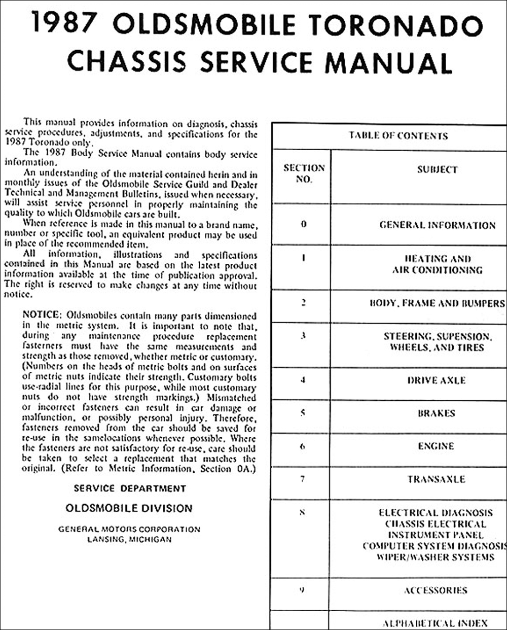 1987 Oldsmobile Toronado Trofeo Repair Shop Manual Original Cutlass Ciera Wiring Diagram Click On Thumbnail To Zoom