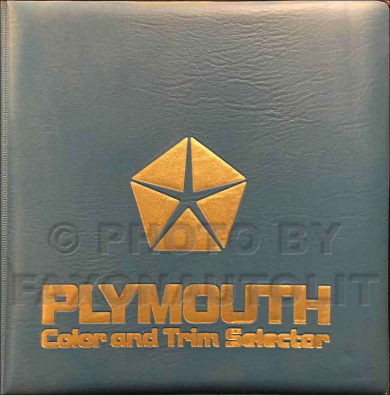 1987 Plymouth Color & Upholstery Album Original