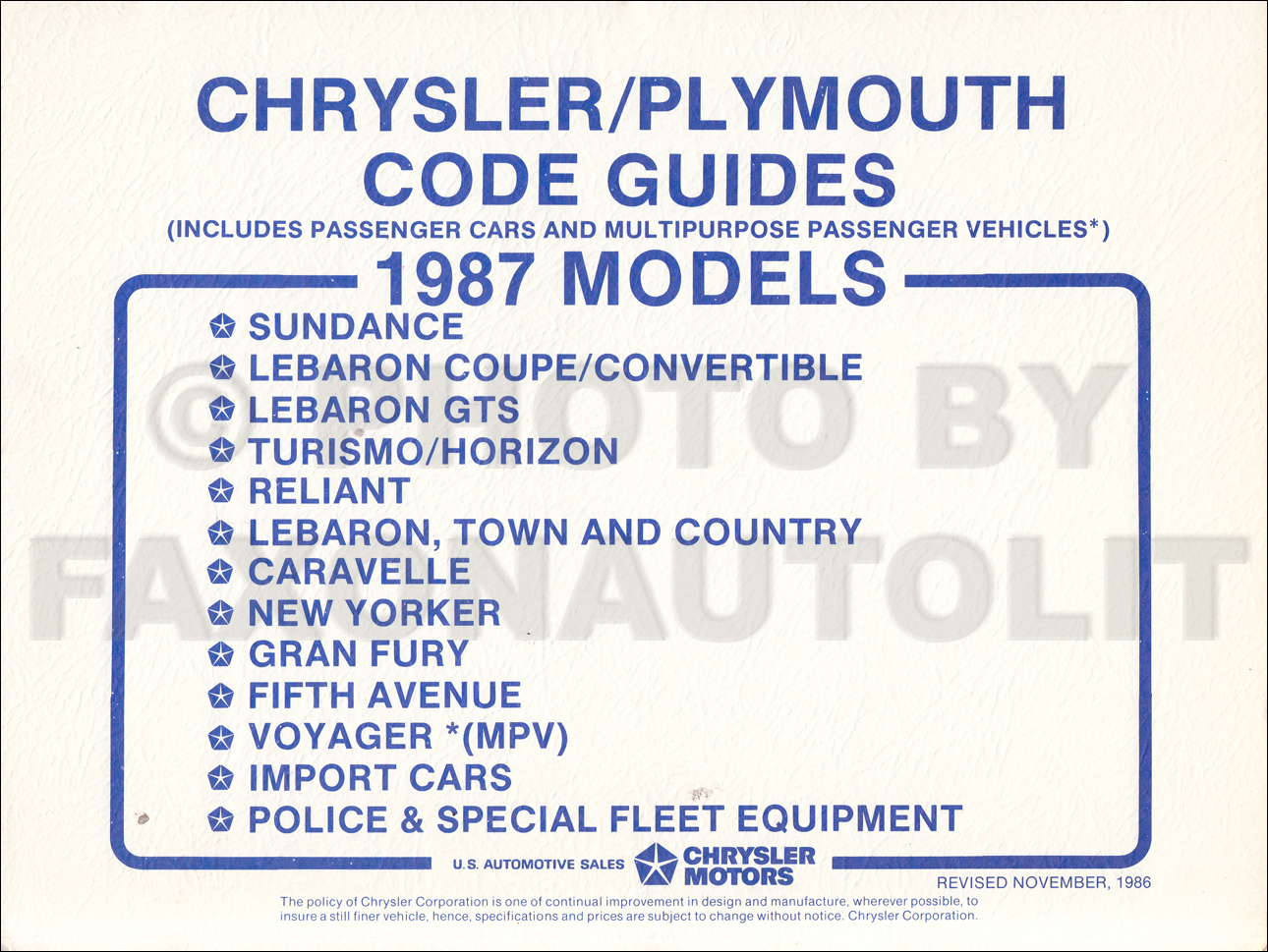 1987 Plymouth & Chrysler Ordering Code Guide Original
