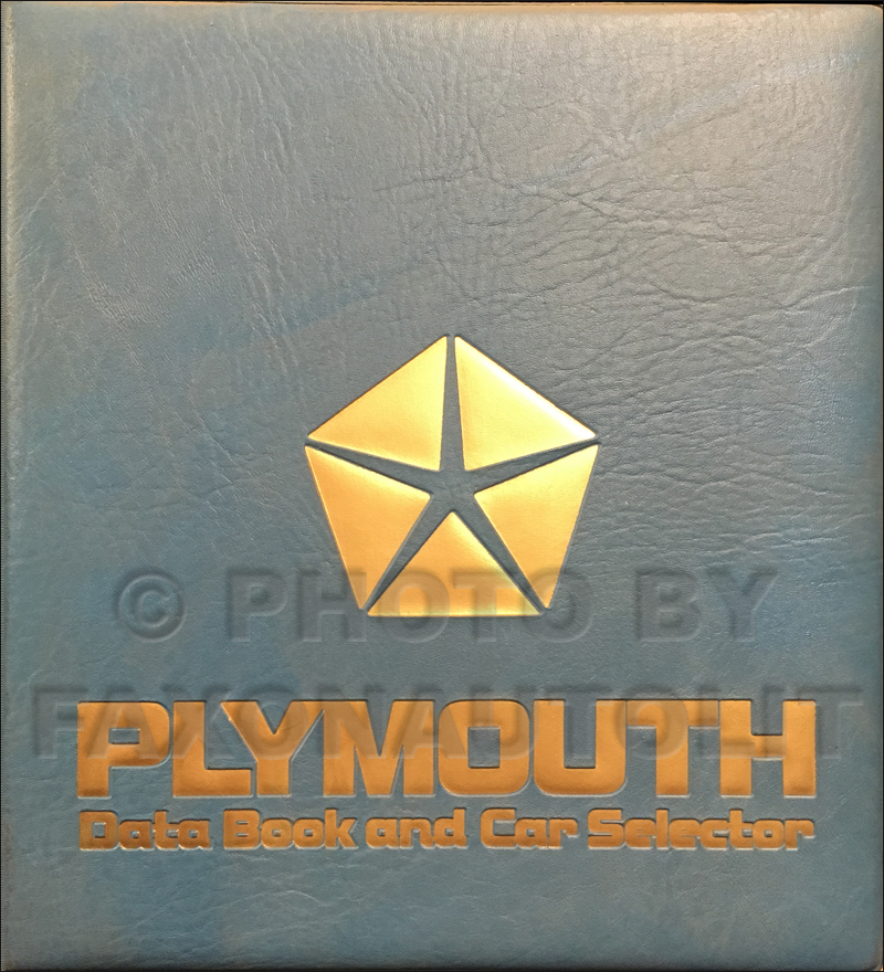 1987 Plymouth Data Book Original