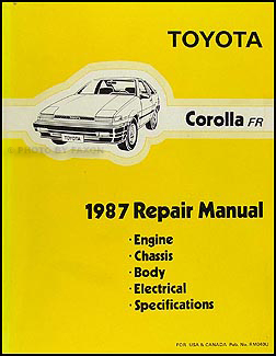 1987 Toyota Corolla RWD Repair Manual Original