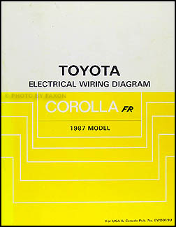 1987 Toyota Corolla RWD Wiring Diagram Manual Original