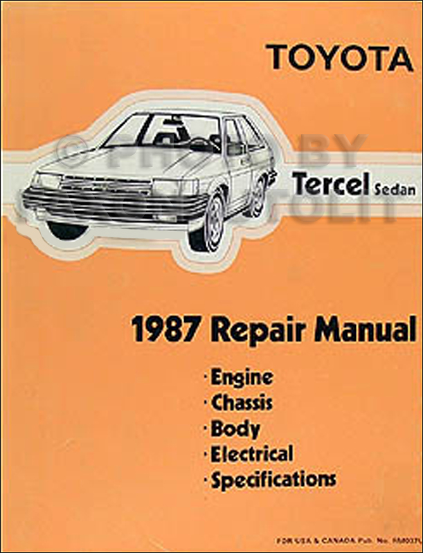1987 Toyota Tercel Repair Manual Original