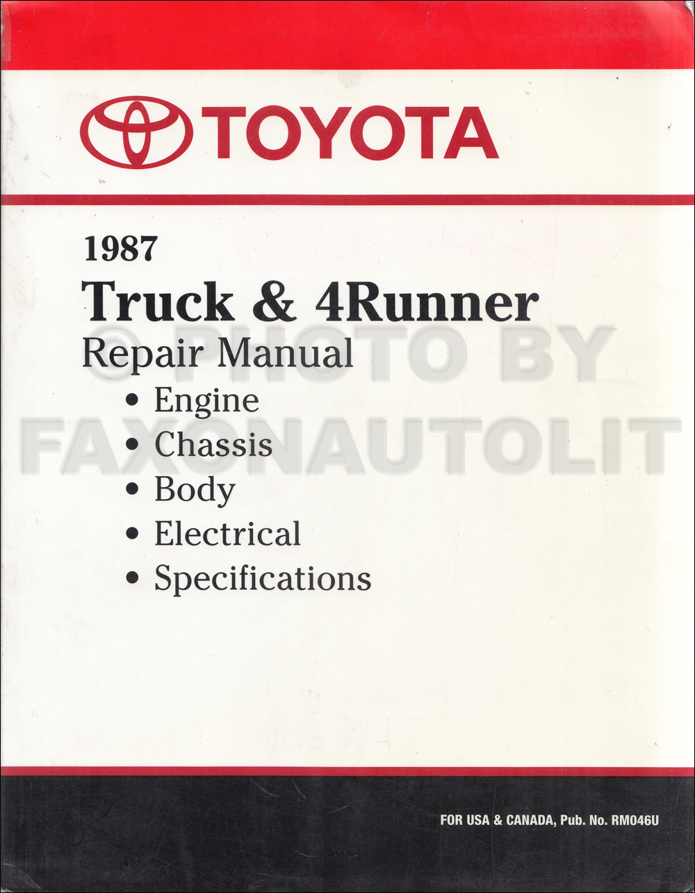 1987 Toyota Pickup Truck and 4Runner Repair Shop Manual Factory Reprint  $179.00