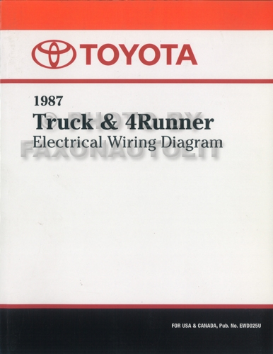 1988 toyota pickup wiring diagram 1987 toyota truck   4runner wiring diagram manual factory reprint  1987 toyota truck   4runner wiring