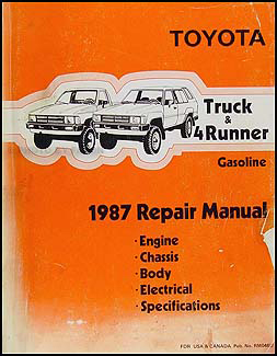 1987 toyota truck 4runner wiring diagram manual factory reprint rh faxonautoliterature com 1989 Toyota Engine Schematic Diagrams Toyota 22R Engine Diagram