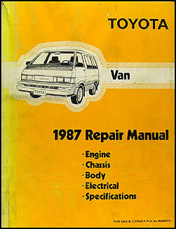 1987 Toyota Van Repair Manual Original
