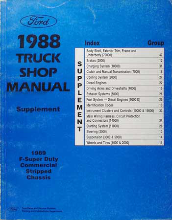 1989 Ford Super Duty F59 Motor Home Repair Shop Manual Supplement Original