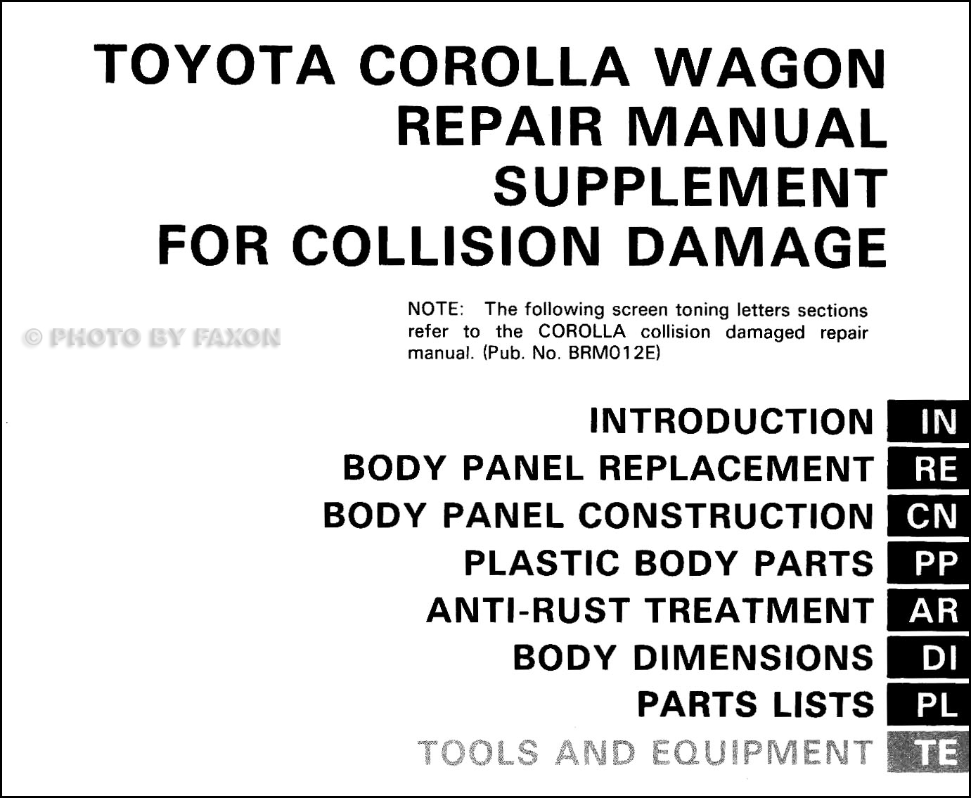 1988-1992 Toyota Corolla Wagon Body Collision Manual Supplement · Table of  Contents