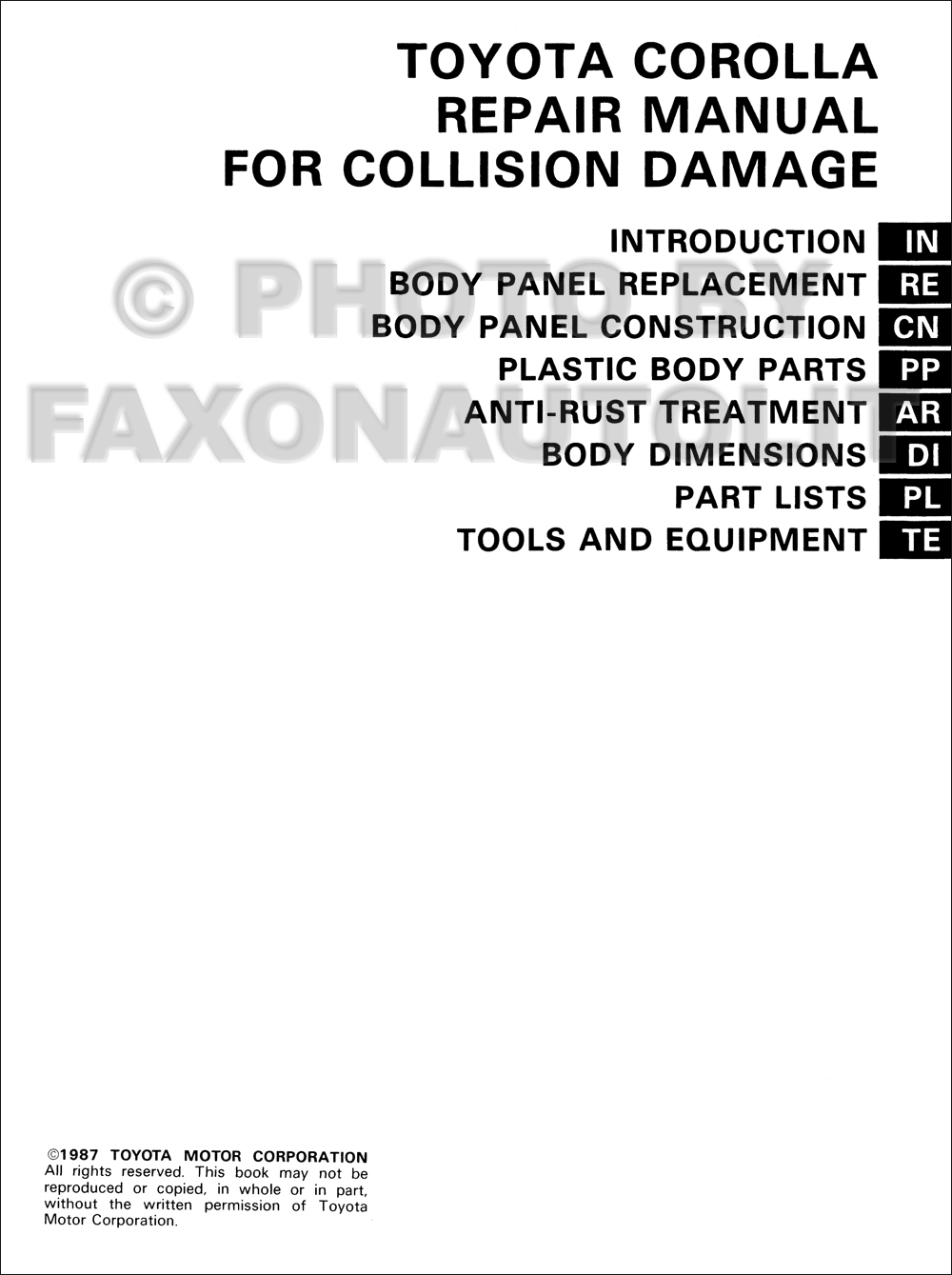 1988-1992 Toyota Corolla Body Collision Manual Factory Reprint. click on  thumbnail to zoom