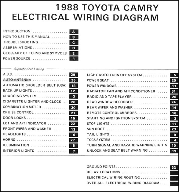 1988.5 Toyota Camry 6 Cylinder Wiring Diagram Manual Original
