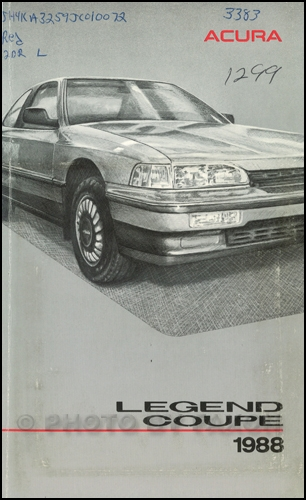 1988 Acura Legend Coupe Owners Manual Original