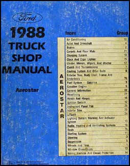 1988 Ford Aerostar Original Repair Manual