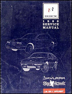 1988 Buick Skylark Skyhawk 2.0L Engine (VIN 1) Repair Shop Manual Supplement
