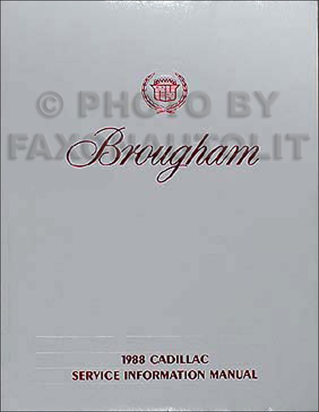 1988 Cadillac Brougham Shop Manual Original