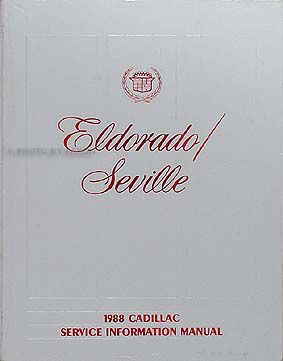 1988 Cadillac Eldorado and Seville Shop Manual Original 88