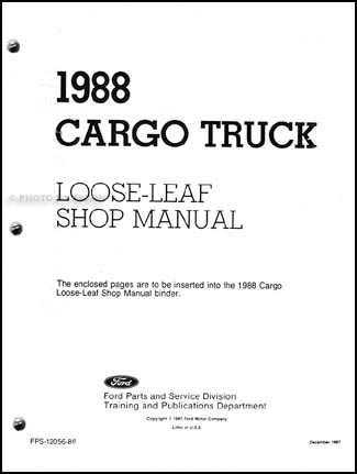1988 Ford Cargo Truck Repair Manual Original Loose-Leaf