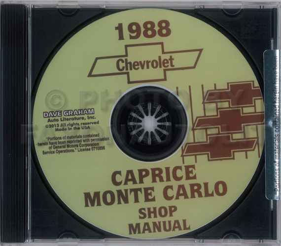 1988 Chevrolet Caprice and Monte Carlo Shop Manuals on CD