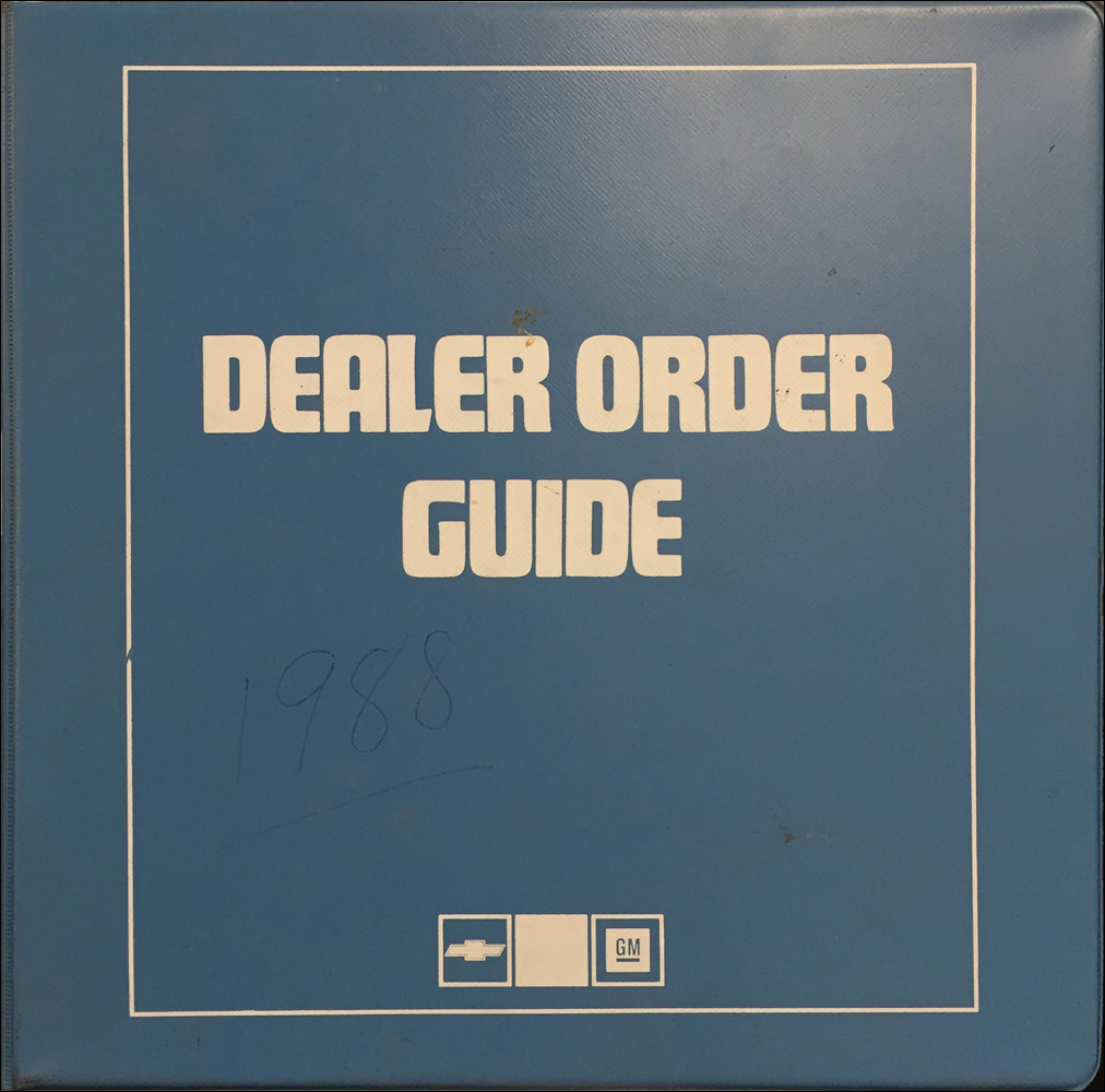 1988 Chevrolet Order Guide Dealer Album Original