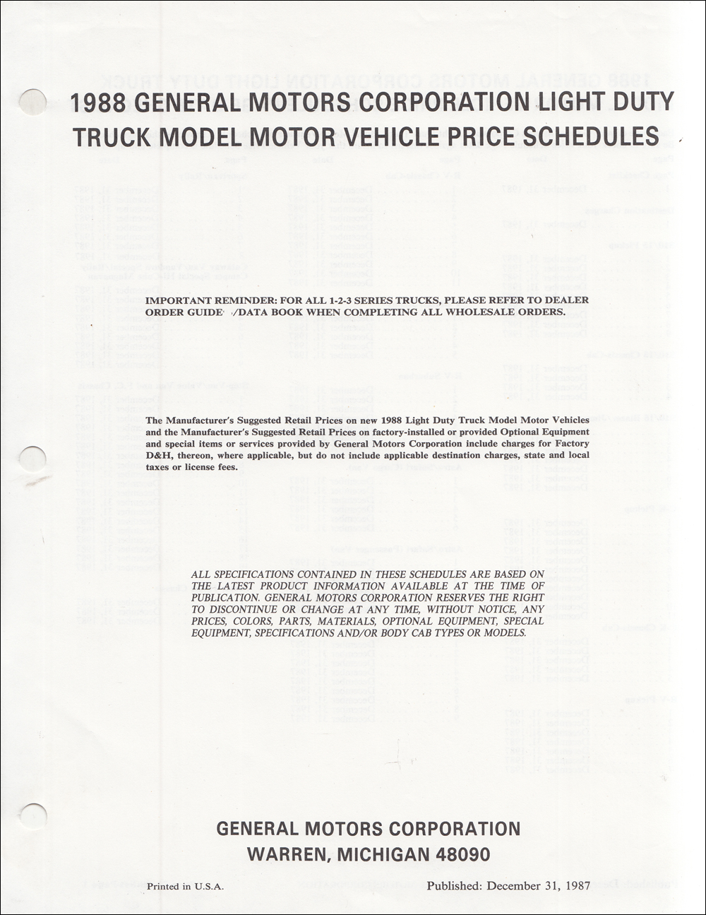 1988 Chevrolet Truck Price Schedule Dealer Album Original