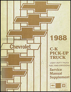 1988 Chevrolet C/K Pickup Fuel & Emissions Manual Original