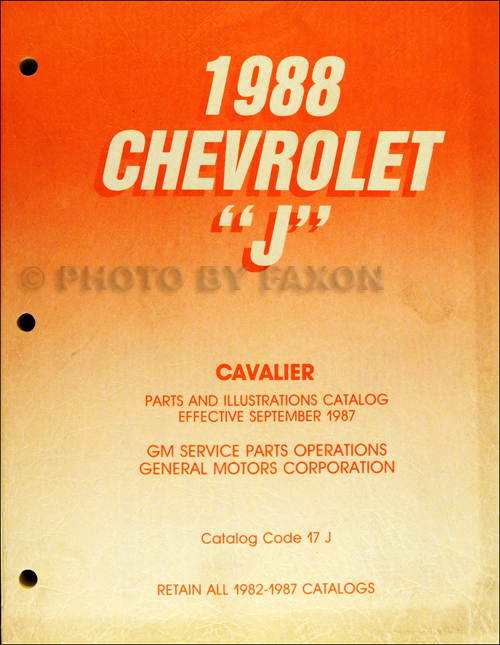 1988 only Chevrolet Cavalier Parts Book Original